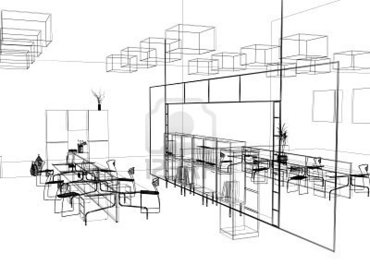 The Modern Office Interior Design Sketch Stock Photo Stockpodium